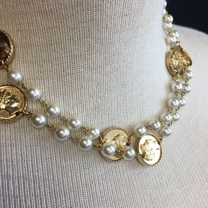 Vintage Faux Pearl & Roman Coin Necklace